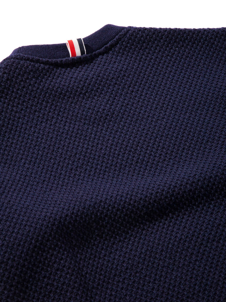 Navy Wide Shoulder Crew Neck Sweatshirt (Hand Embroidered 4 Bar Stripe In Chunky Pique) 1021621509705