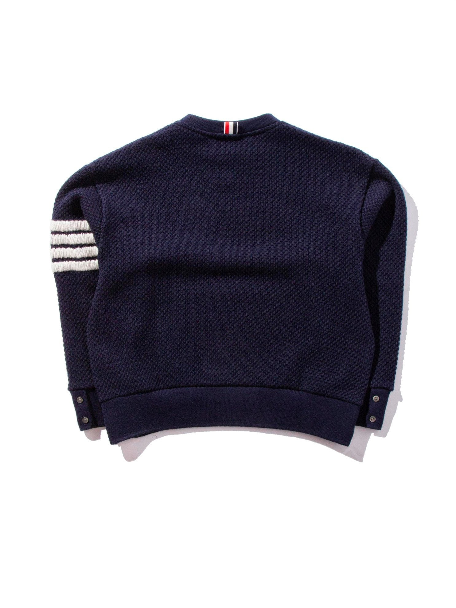 Navy Wide Shoulder Crew Neck Sweatshirt (Hand Embroidered 4 Bar Stripe In Chunky Pique) 8