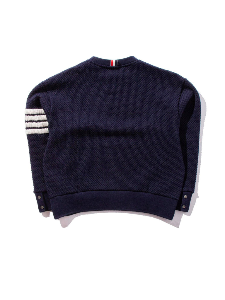 Navy Wide Shoulder Crew Neck Sweatshirt (Hand Embroidered 4 Bar Stripe In Chunky Pique) 821621510345