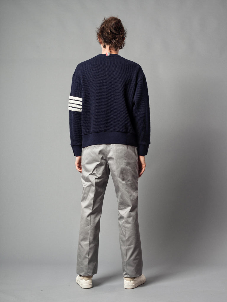 Navy Wide Shoulder Crew Neck Sweatshirt (Hand Embroidered 4 Bar Stripe In Chunky Pique) 721621520777