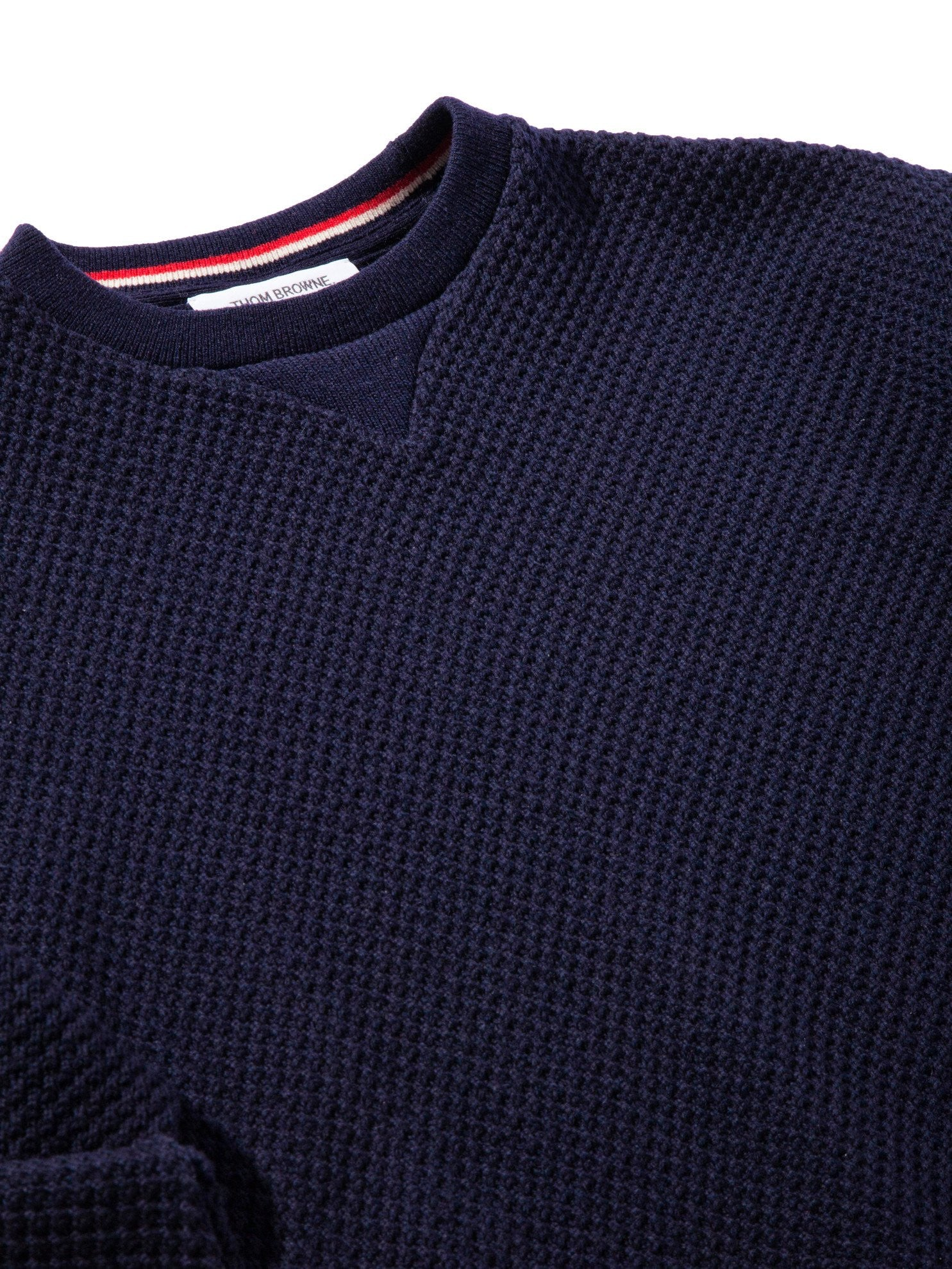 Navy Wide Shoulder Crew Neck Sweatshirt (Hand Embroidered 4 Bar Stripe In Chunky Pique) 9
