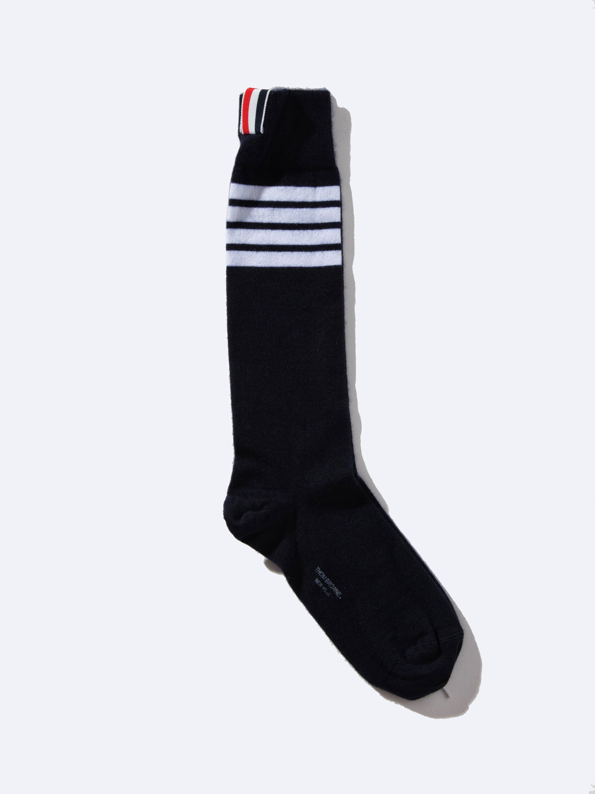 Med. Grey Ribbed Mid-Calf Sock (4 Bar Stripe/Silk Cashmere) 1