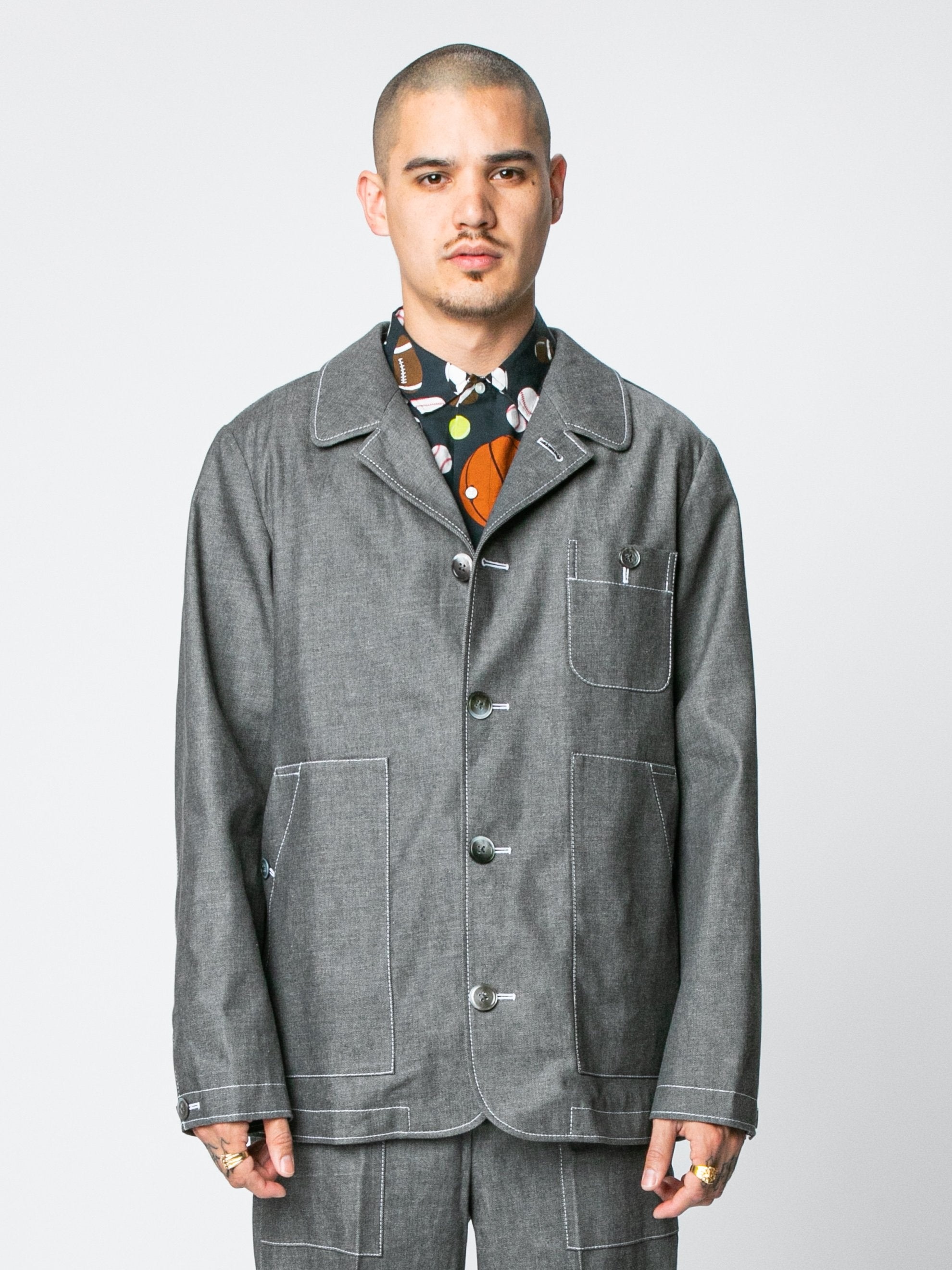 Med Grey Round Collar Button Up Square Patch Pocket Packet In Denim 2