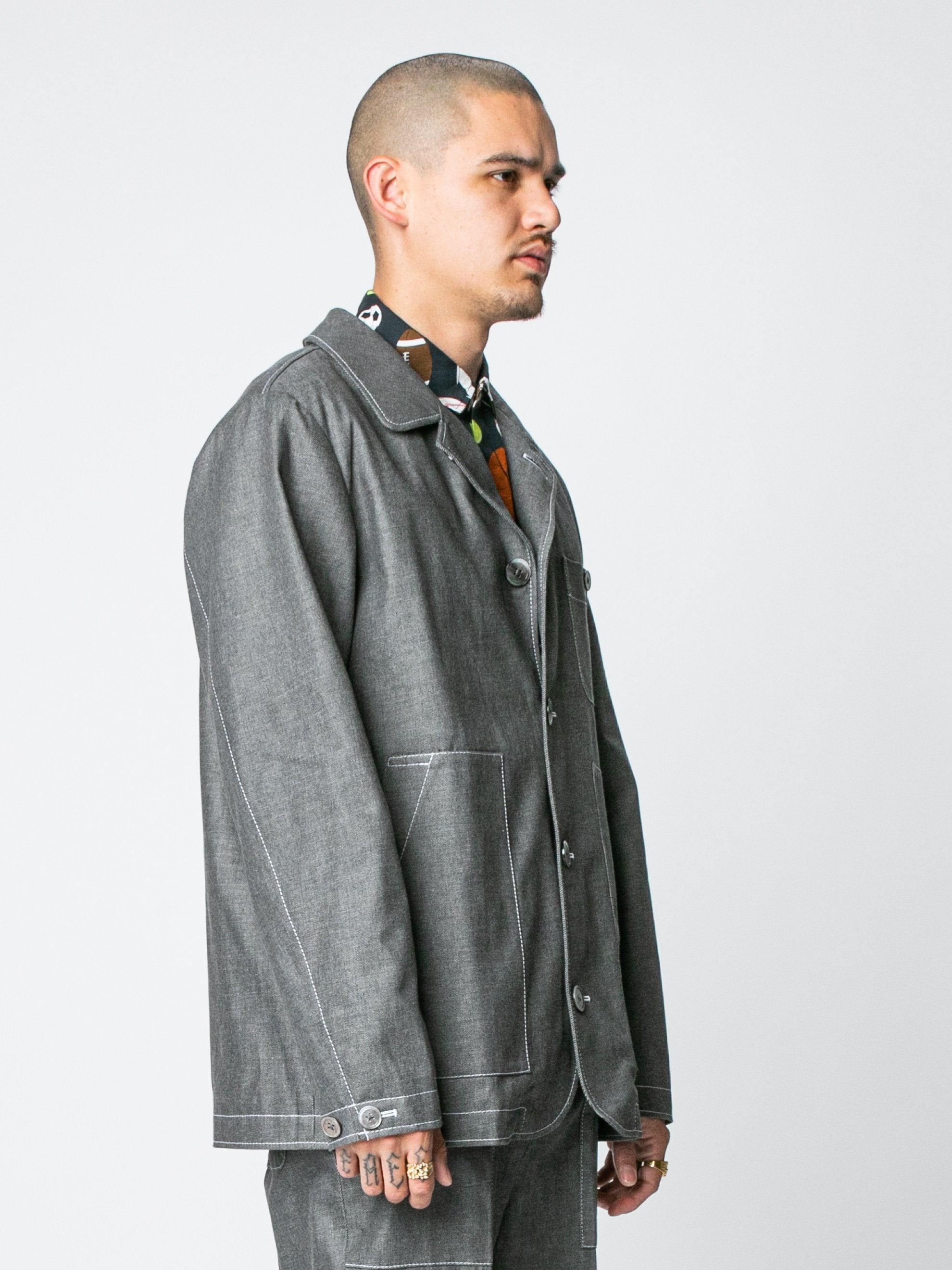 Med Grey Round Collar Button Up Square Patch Pocket Packet In Denim 4