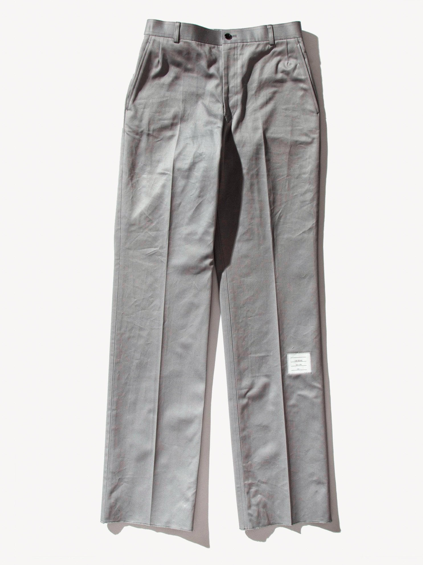 Med Grey Unconstructed Straight Leg Chino (Light Weight High Density Cotton Twill) 1