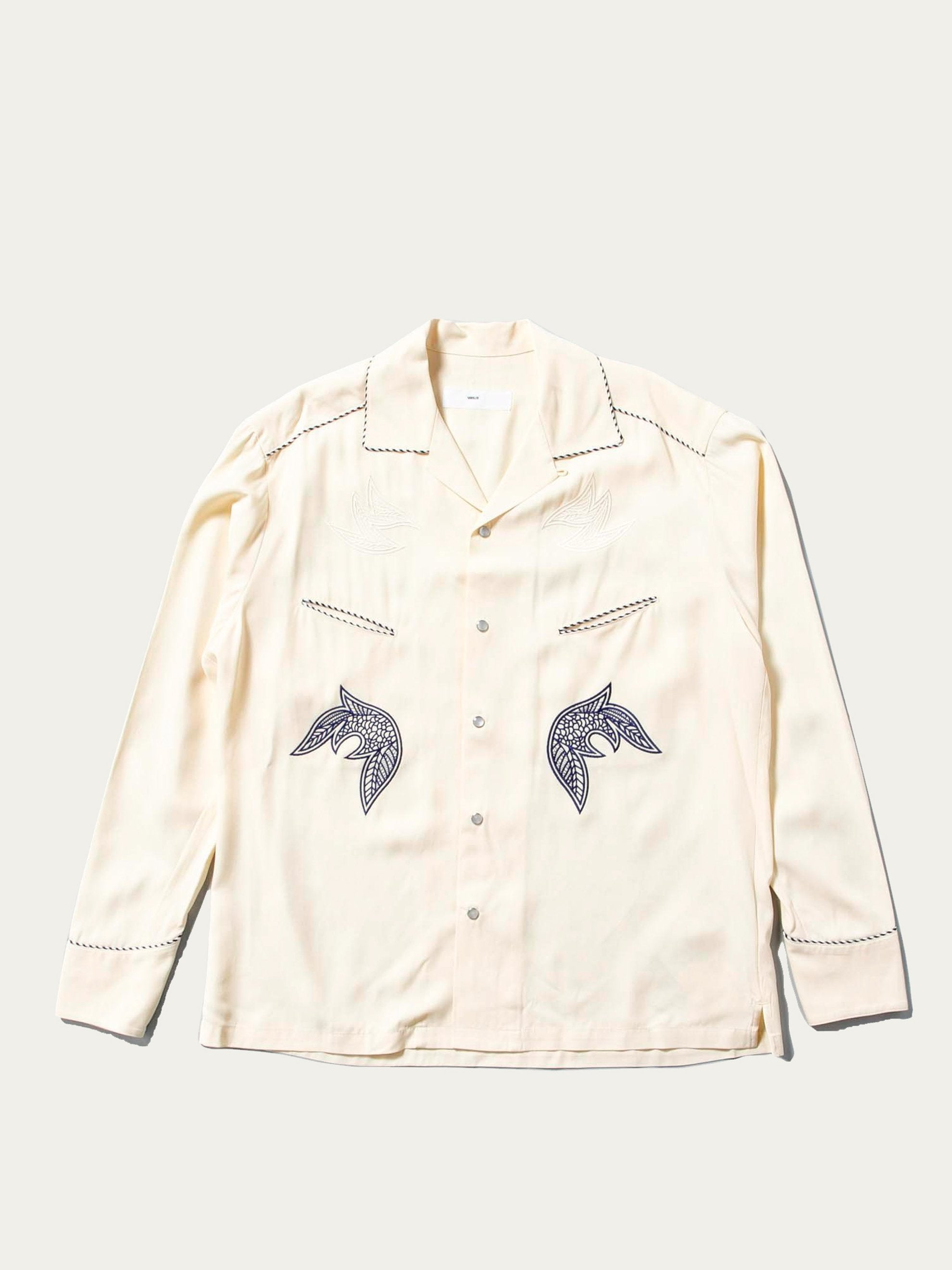 Off White Rayon Gabardine Shirt 1