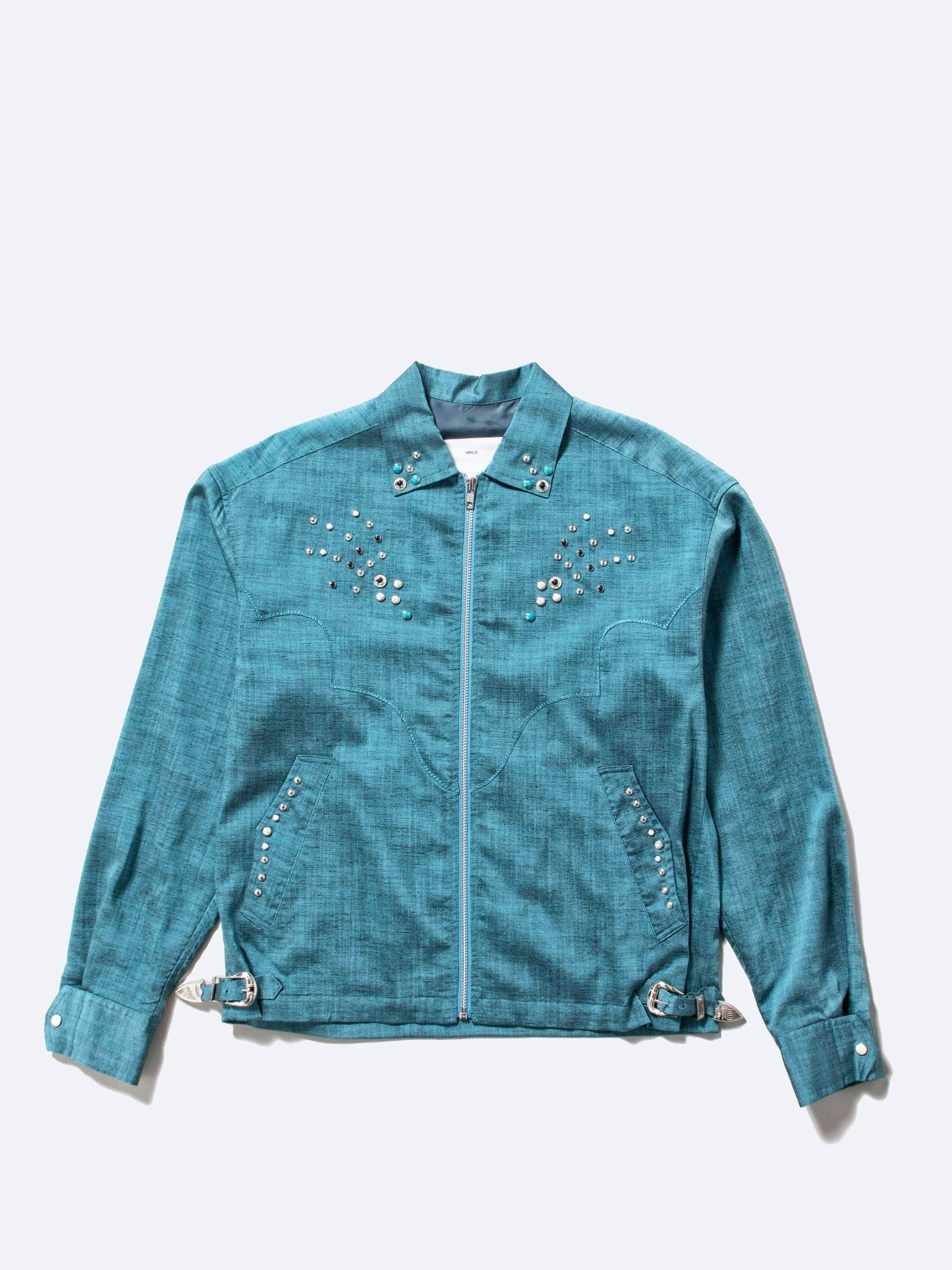 Light Blue Slab Yarn Stretch Blouson 1