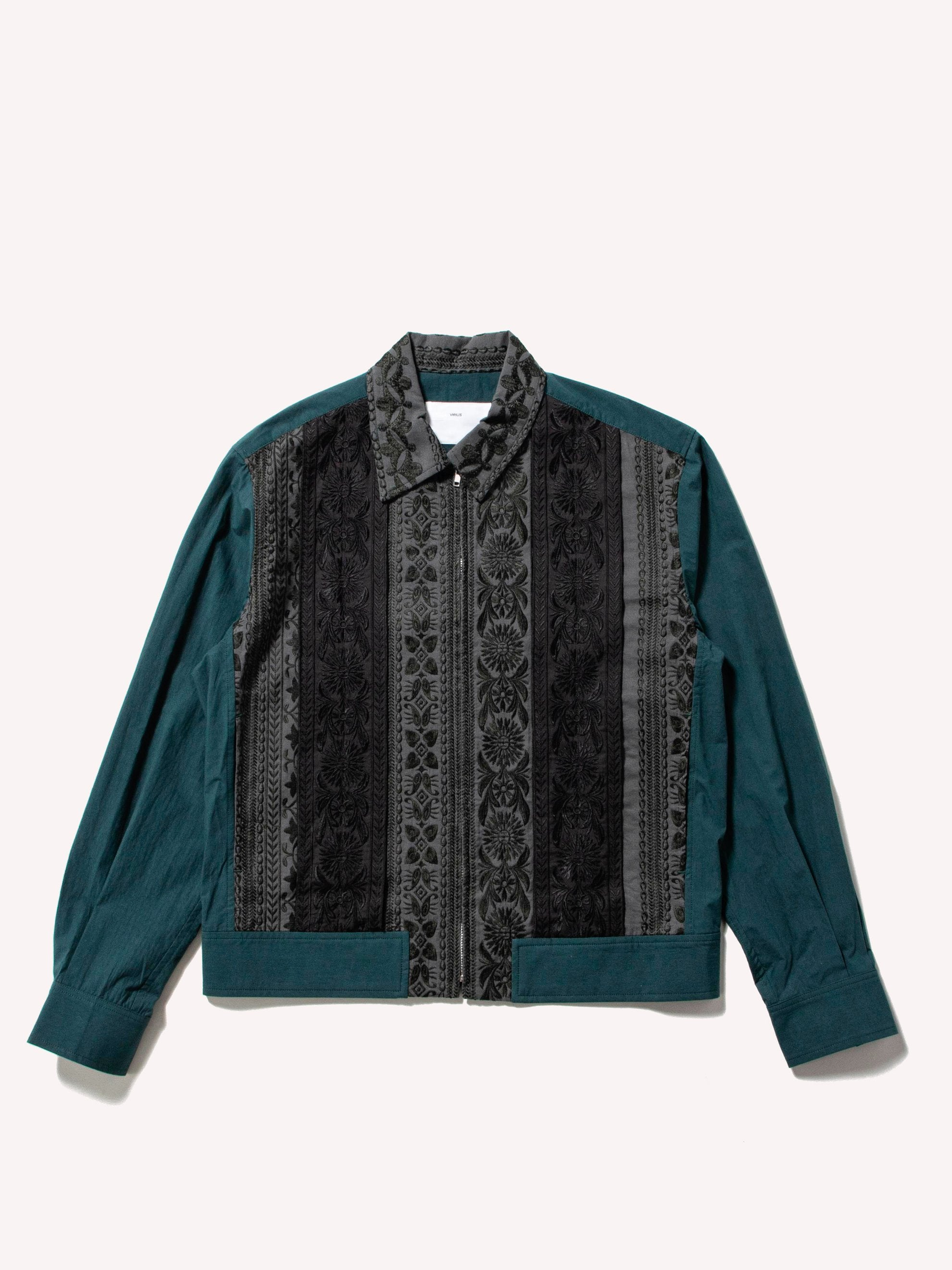 Green Embroidery Lace Blouson 1