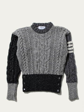 Aran Cable Crew Neck Pullover In Mohair Tweed With White 4 Bar Stripe