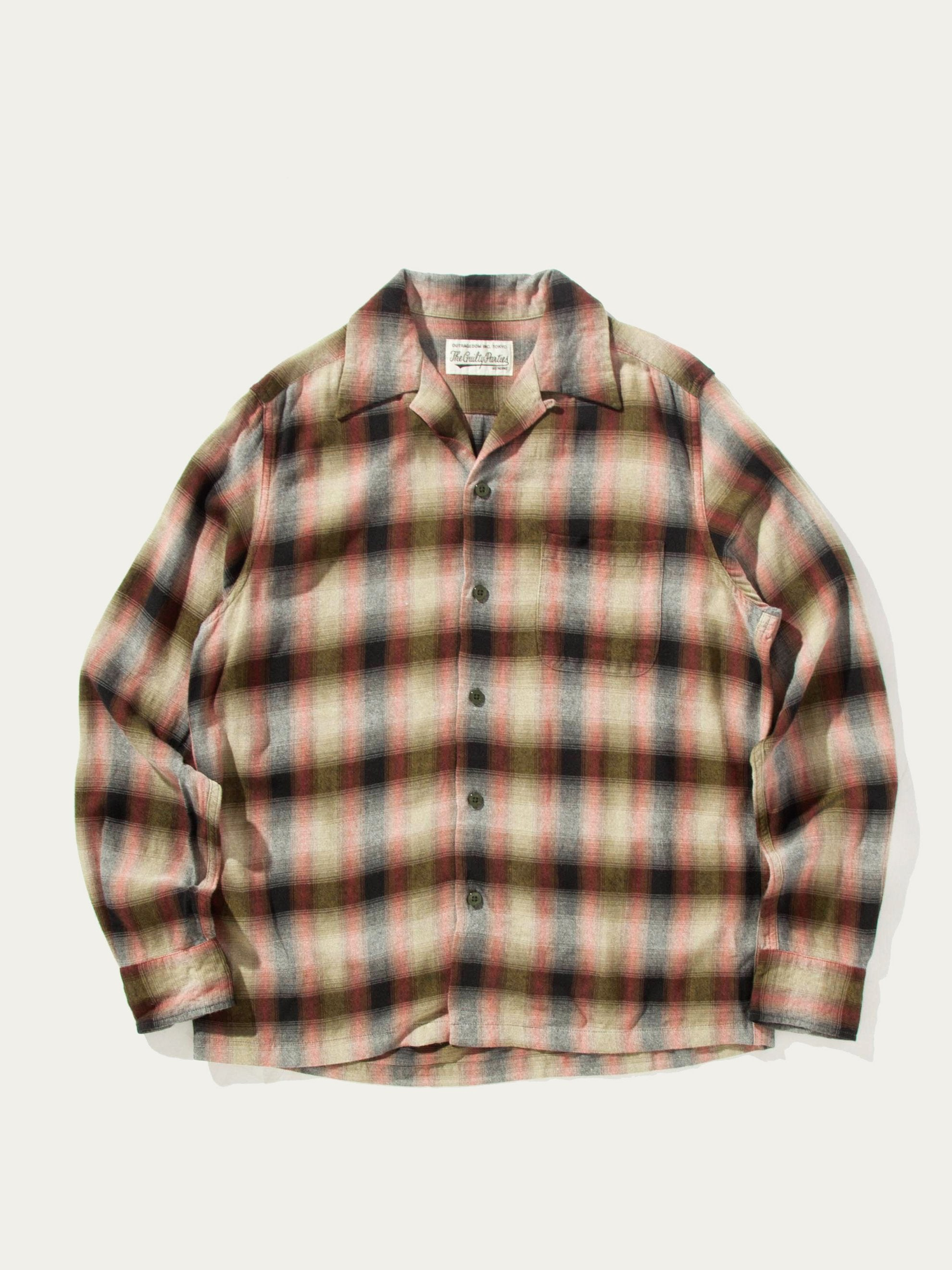 Green/Red Ombray Check Open Collar Shirt (Type-1) 1