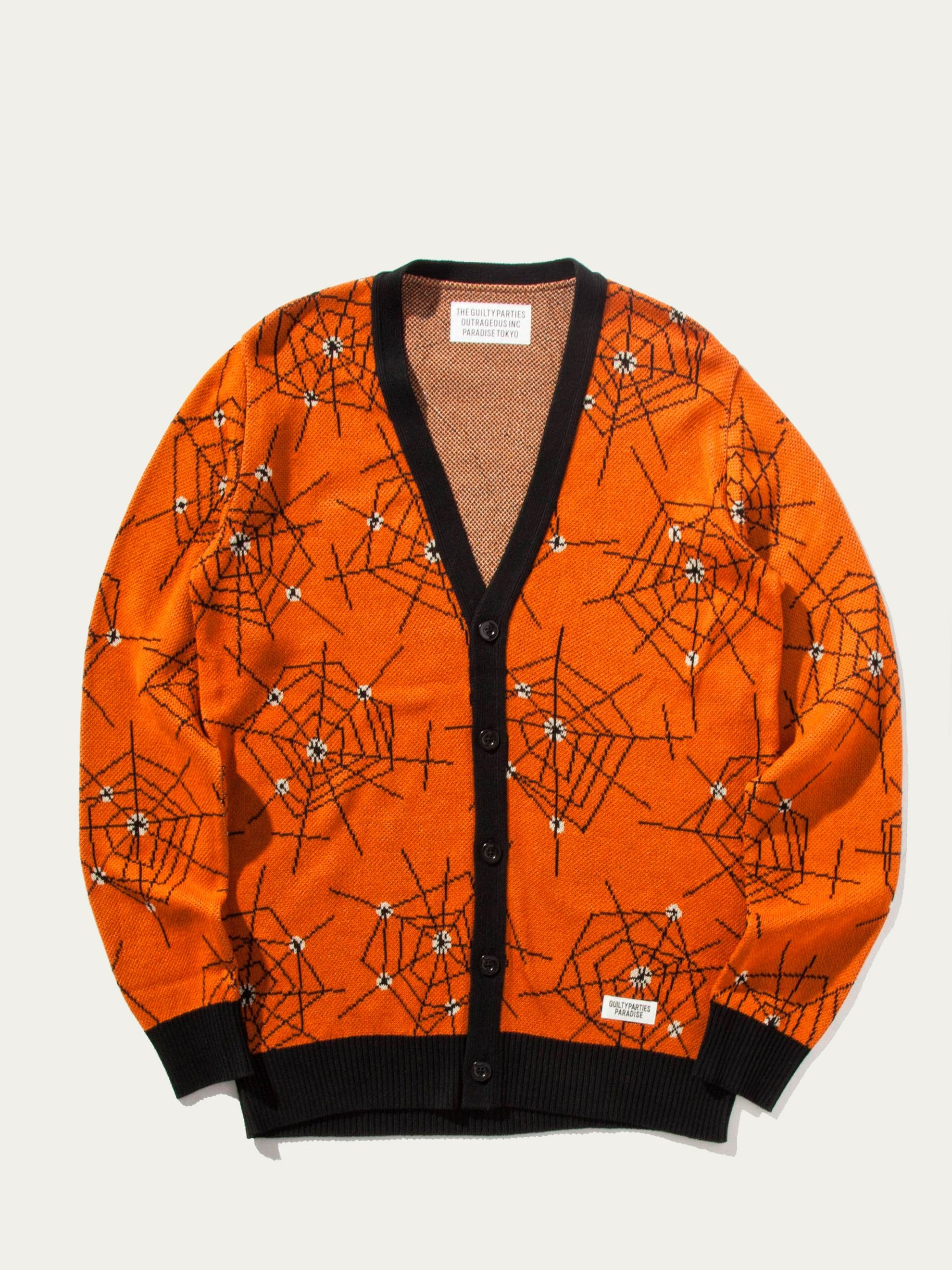 Orange Atomic Spider Jacquard Cardigan 1