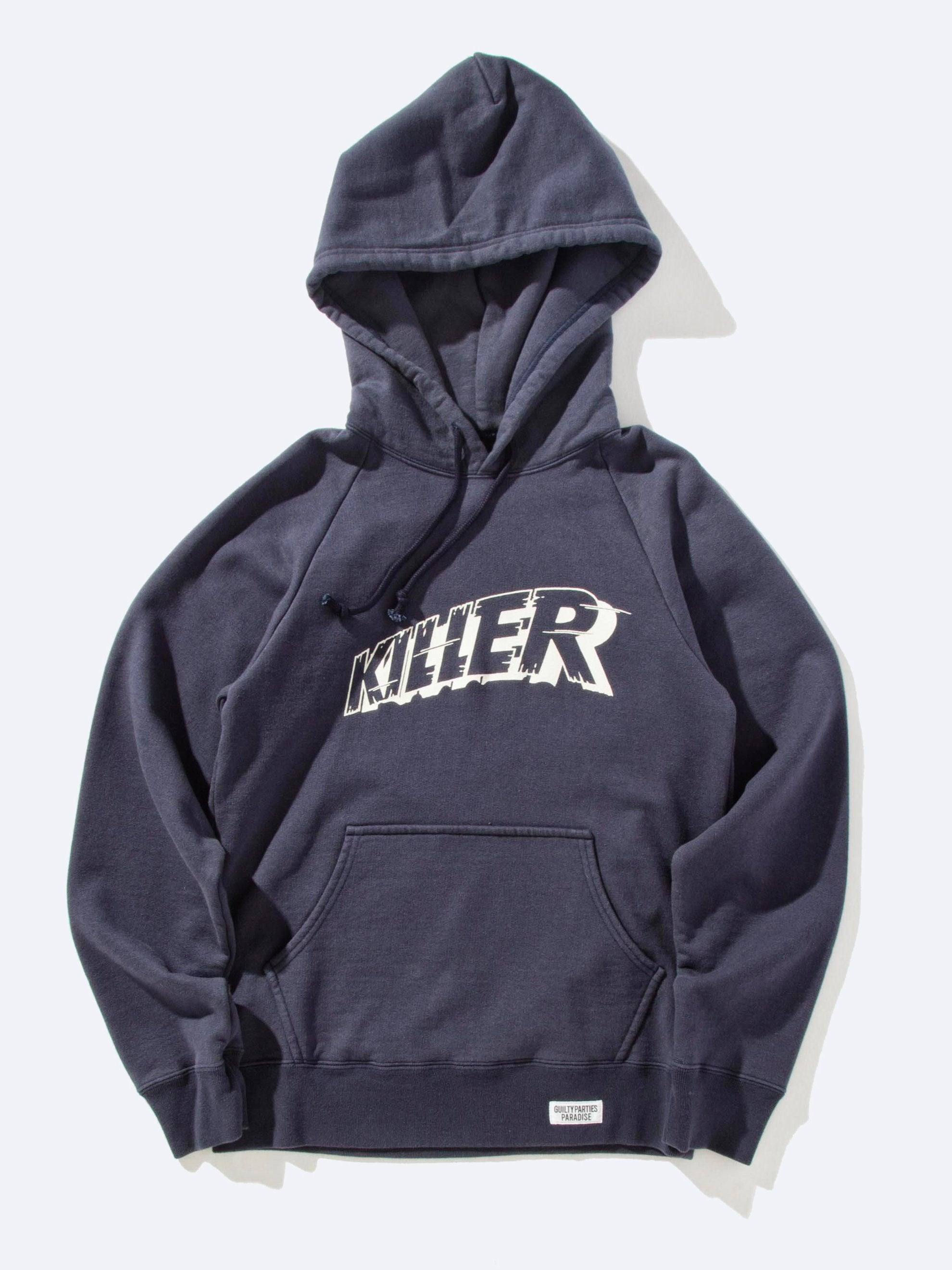 Navy Washed Heavy Weight Pullover Hooded Sweatshirt (Type-3) 9