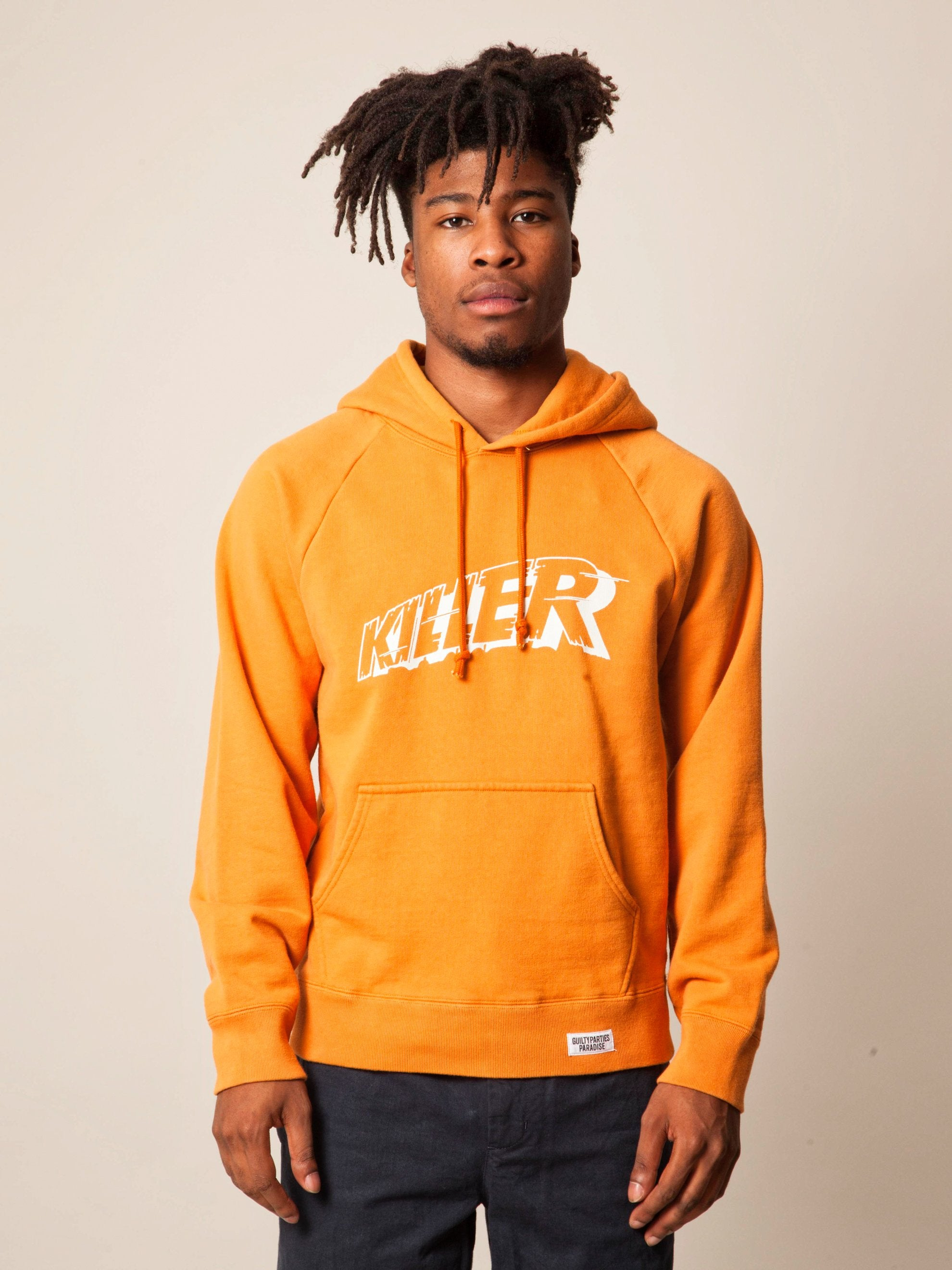 Orange Washed Heavy Weight Pullover Hooded Sweatshirt (Type-3) 2