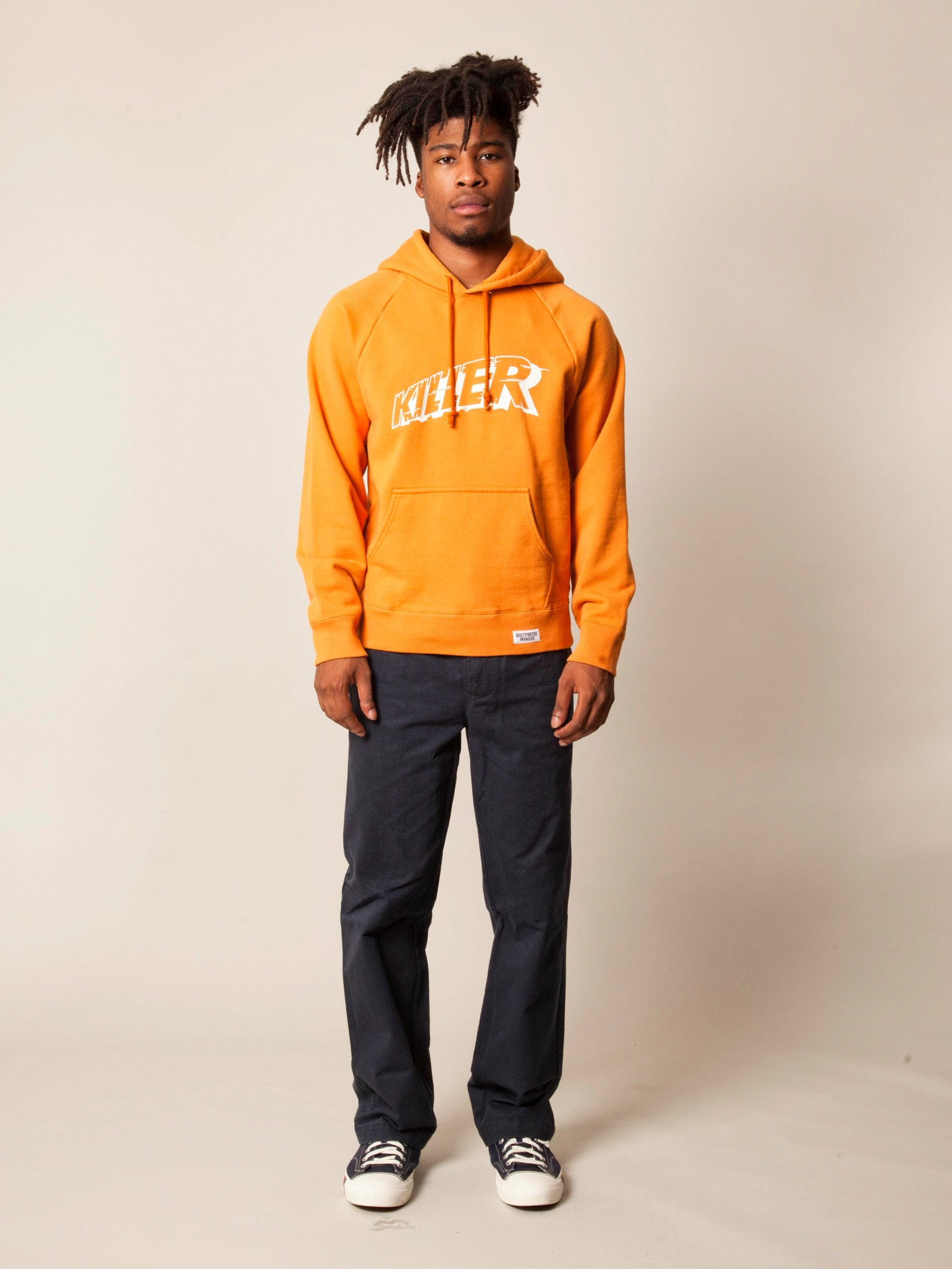 Orange Washed Heavy Weight Pullover Hooded Sweatshirt (Type-3) 3