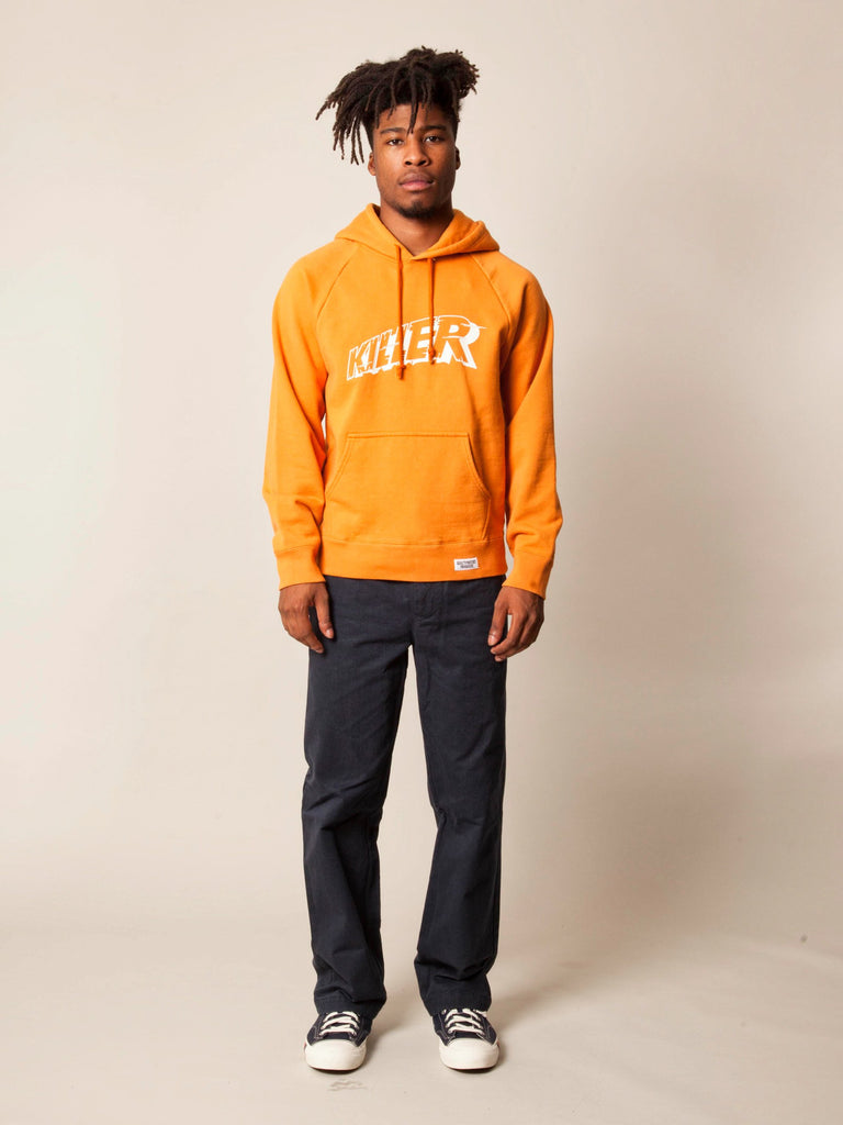 Orange Washed Heavy Weight Pullover Hooded Sweatshirt (Type-3) 3481463074825