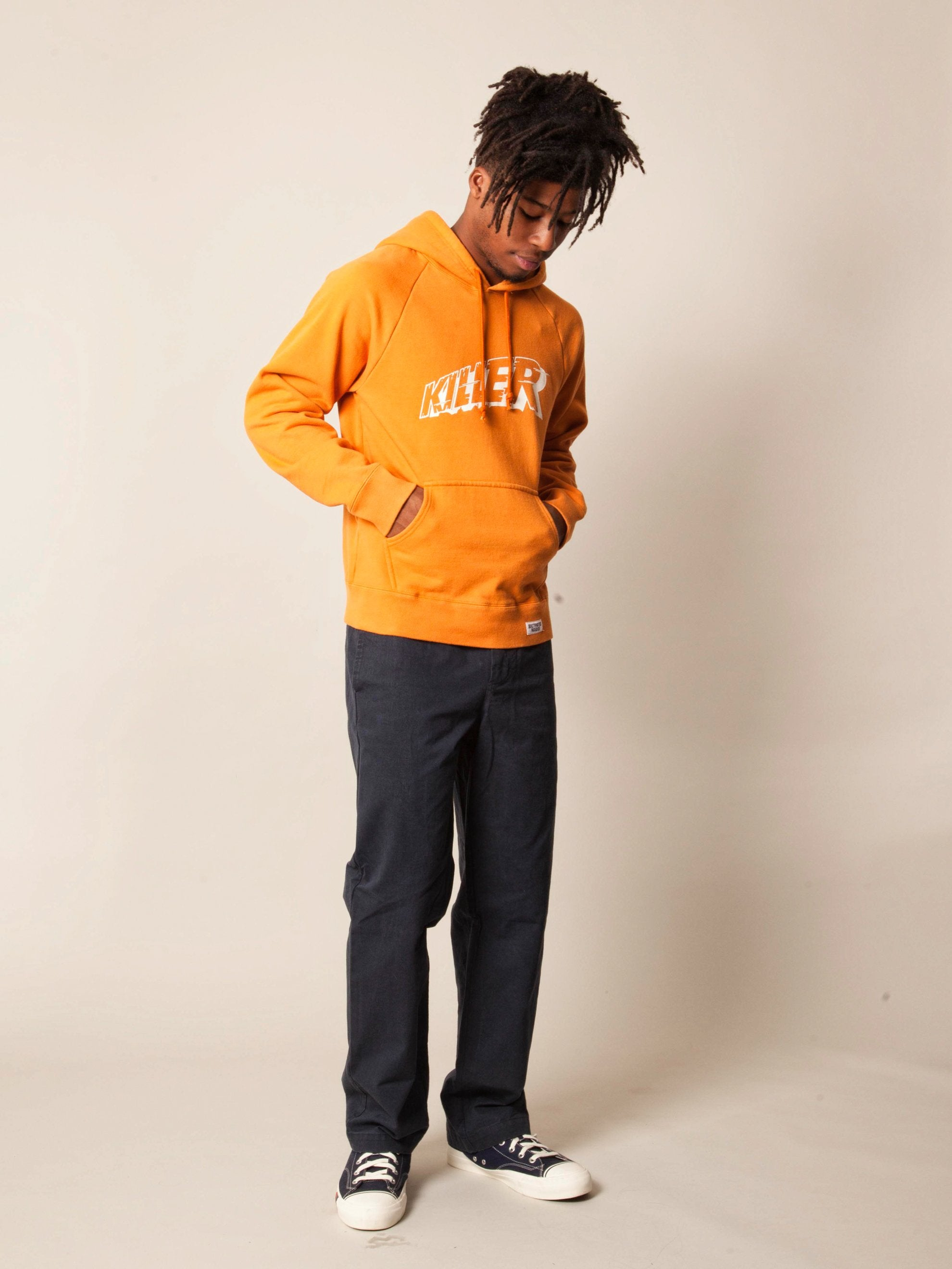 Orange Washed Heavy Weight Pullover Hooded Sweatshirt (Type-3) 4