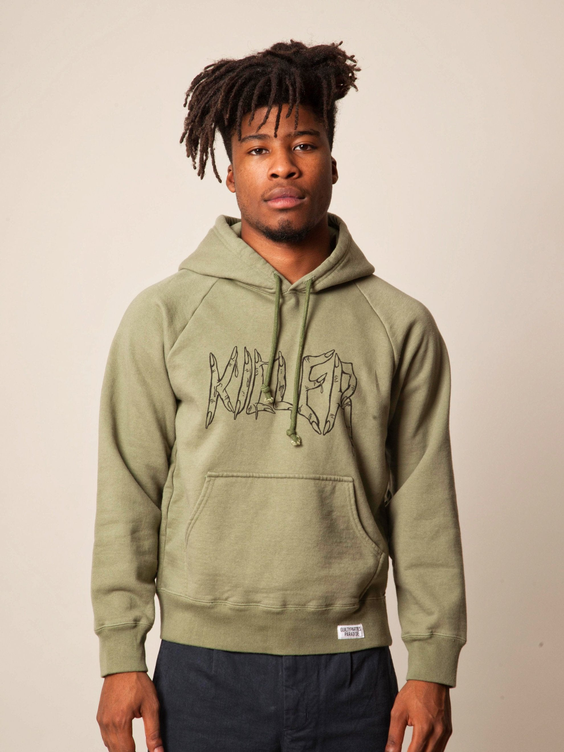 Green Washed Heavy Weight Pullover Hooded Sweatshirt (Type-4) 3