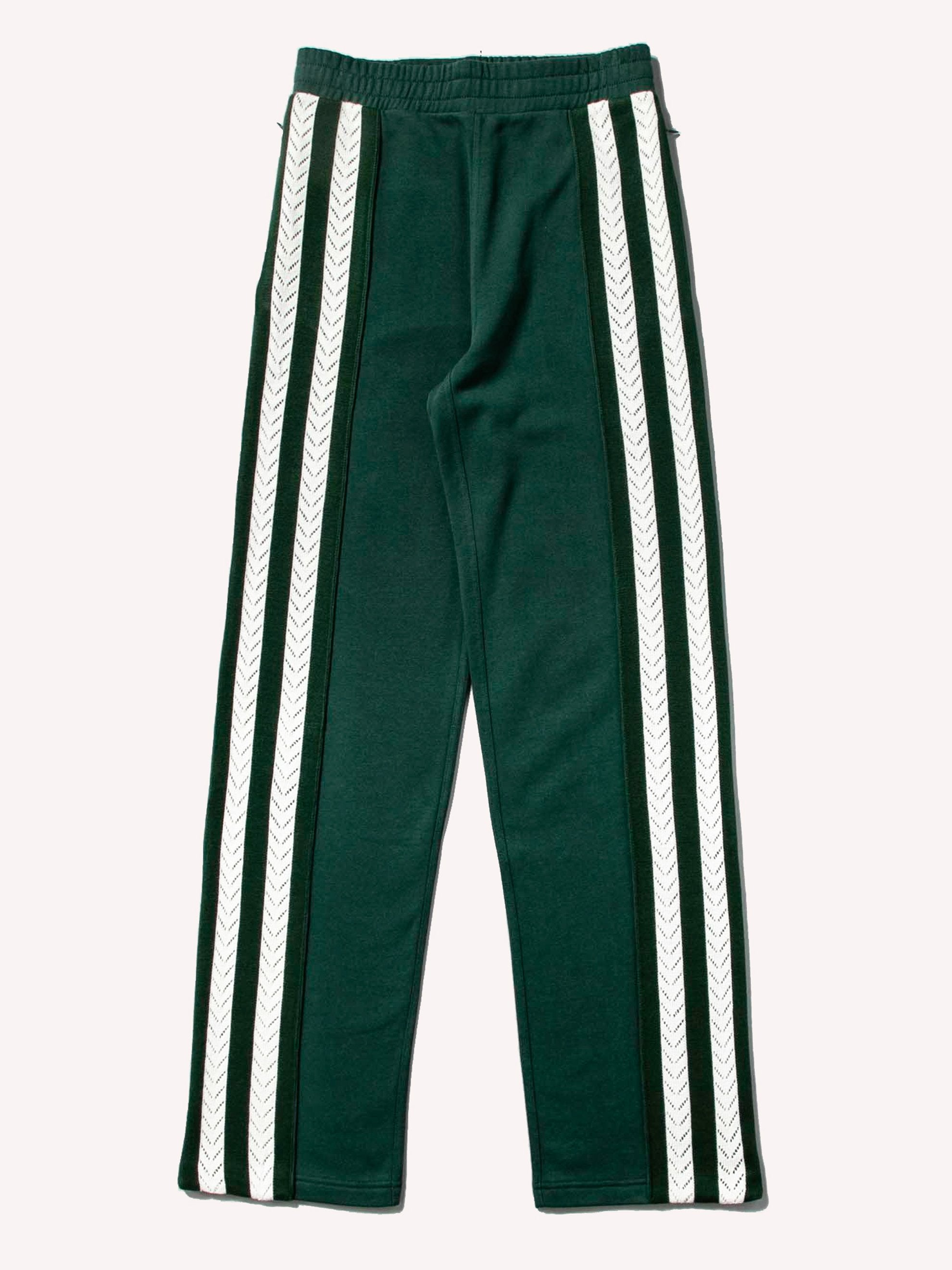 Forest Green Palms Crochet Stripe Trackpants 1