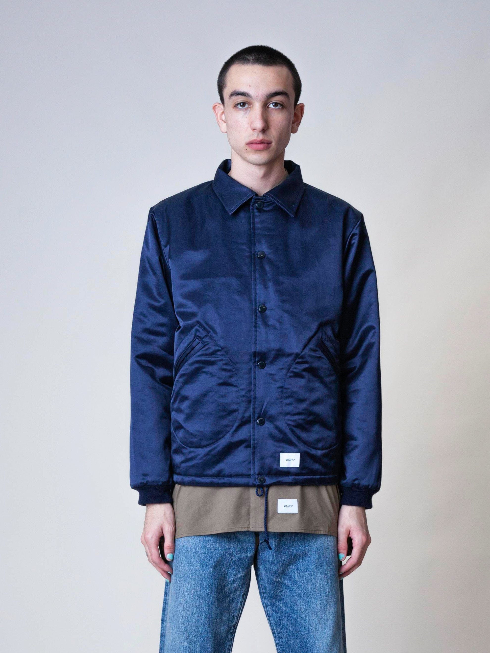 Navy Satin Coaches Jacket 2