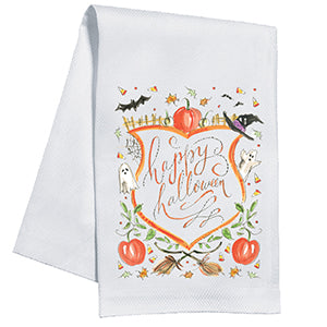 Happy Halloween Crest Kitchen Towel