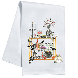 Halloween Bar Cart Kitchen Towel