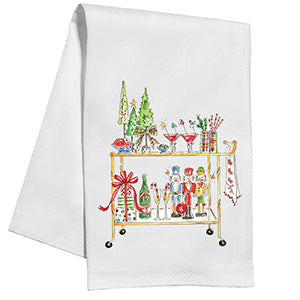 Holiday Bar Cart Kitchen Towel - The Preppy Bunny