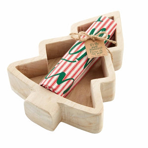 Wood Tree Bowl with Towel - The Preppy Bunny