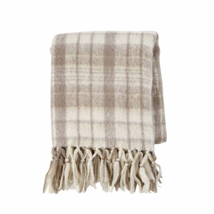 Tan Plaid Throw Blanket with Monogram - The Preppy Bunny
