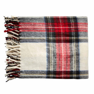 White Plaid Tartan Throw Blanket with Monogram - The Preppy Bunny