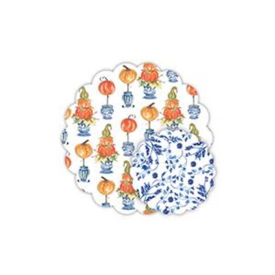 Pumpkin Topiary and Blue and White Floral Doily Set - The Preppy Bunny