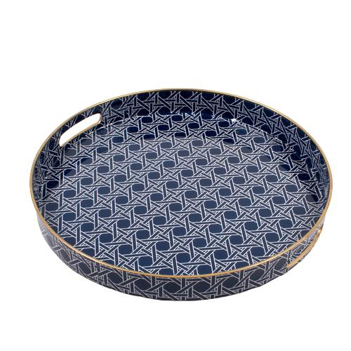 Navy and Gold Round Cane Tray - The Preppy Bunny
