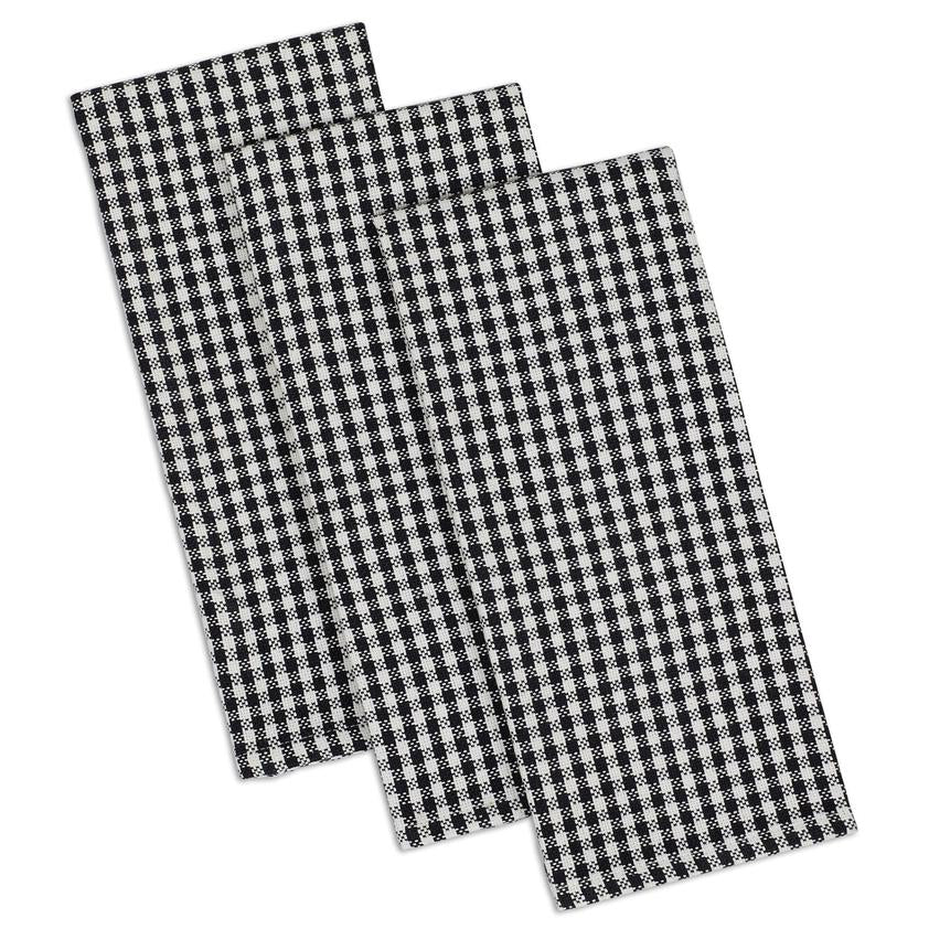 Black Check Heavyweight Dishtowel Set of 3 - The Preppy Bunny