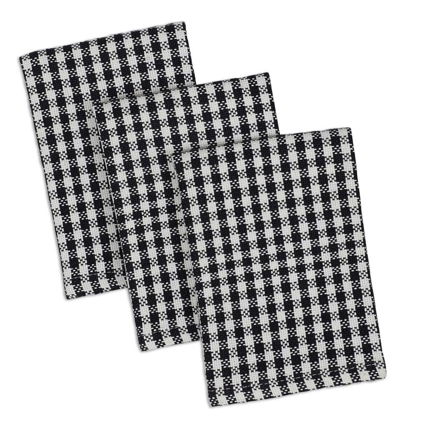 Black Check Heavyweight Dishcloth Set of 3 - The Preppy Bunny