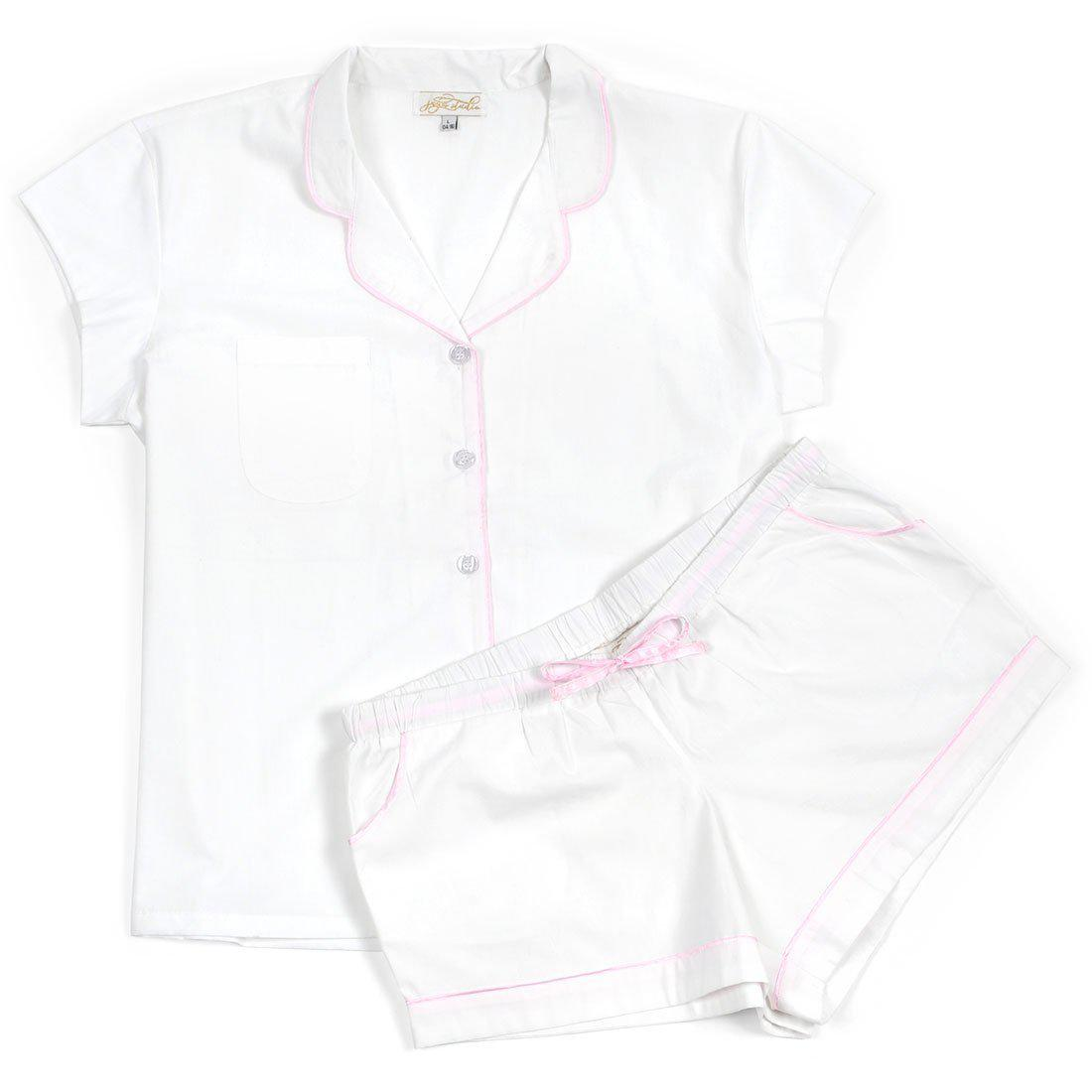 White Cotton Poplin Summer Pajama Set - The Preppy Bunny