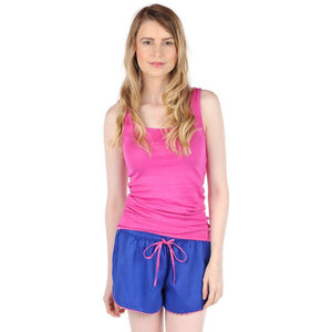 Navy and Pink Sateen Women's Boxers - The Preppy Bunny