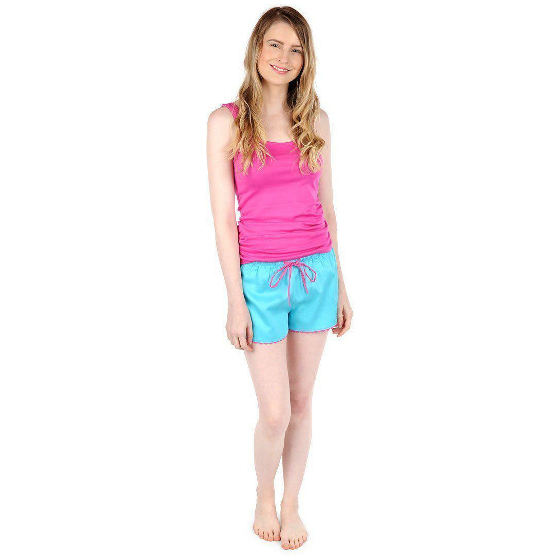 Turquoise and Pink Sateen Women's Boxers - The Preppy Bunny