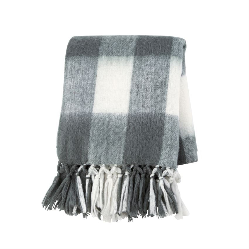 Grey Plaid Throw Blanket with Monogram - The Preppy Bunny