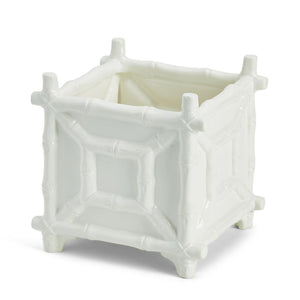 Chinoiserie White Ceramic Bamboo Cachepot - The Preppy Bunny