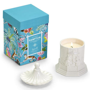 Chinoiserie Pagoda White Ceramic Candle with Gift Box - The Preppy Bunny