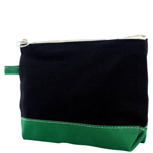 Monogram Black Canvas Pouch with Green Trim - The Preppy Bunny