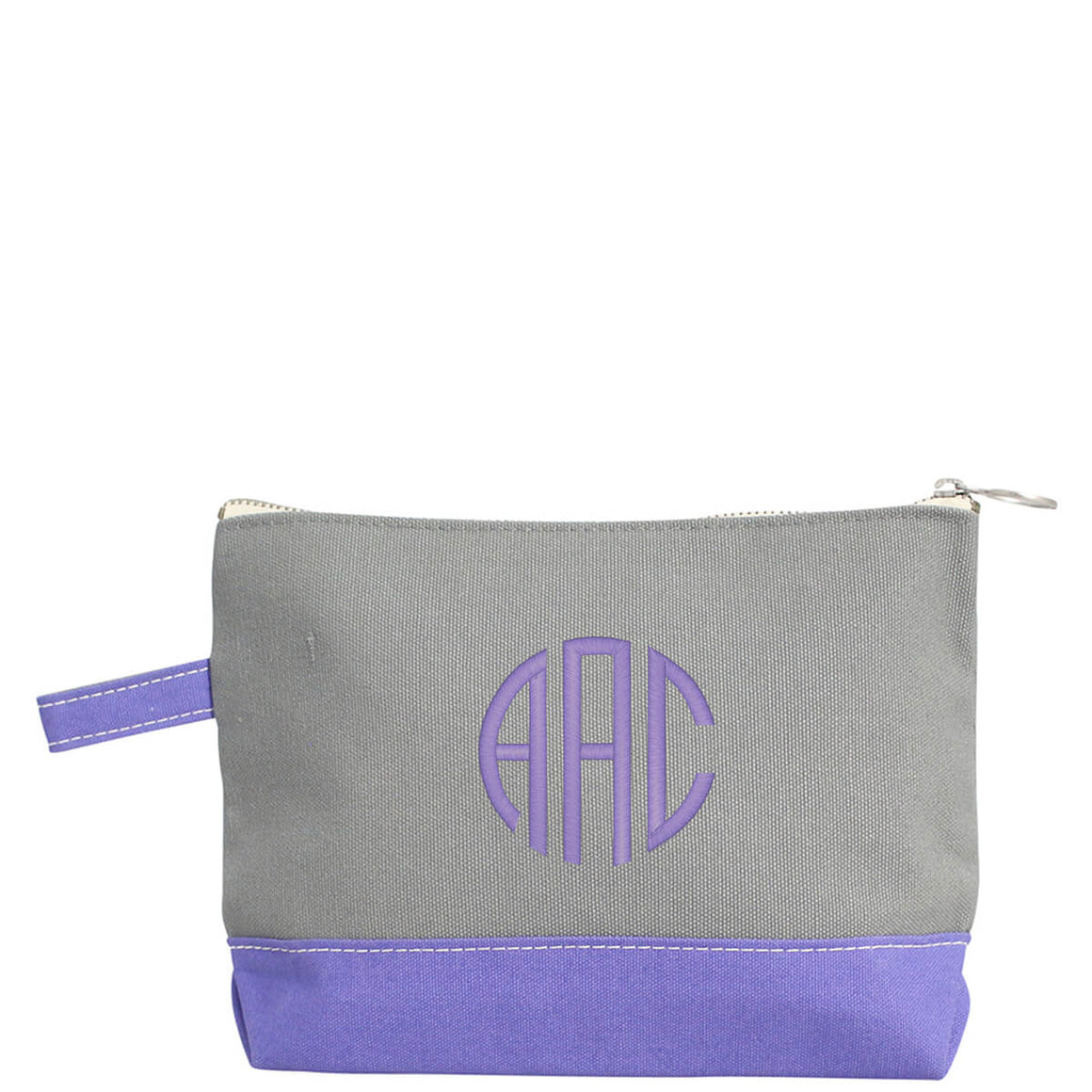 Monogram Grey Canvas Pouch with Purple Trim - The Preppy Bunny