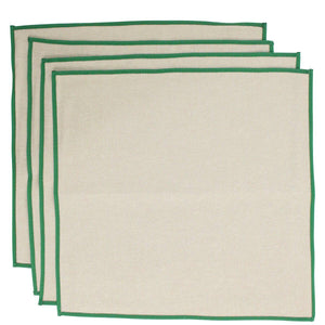 Jute Dinner Napkins Green Trim Set of 4 - The Preppy Bunny