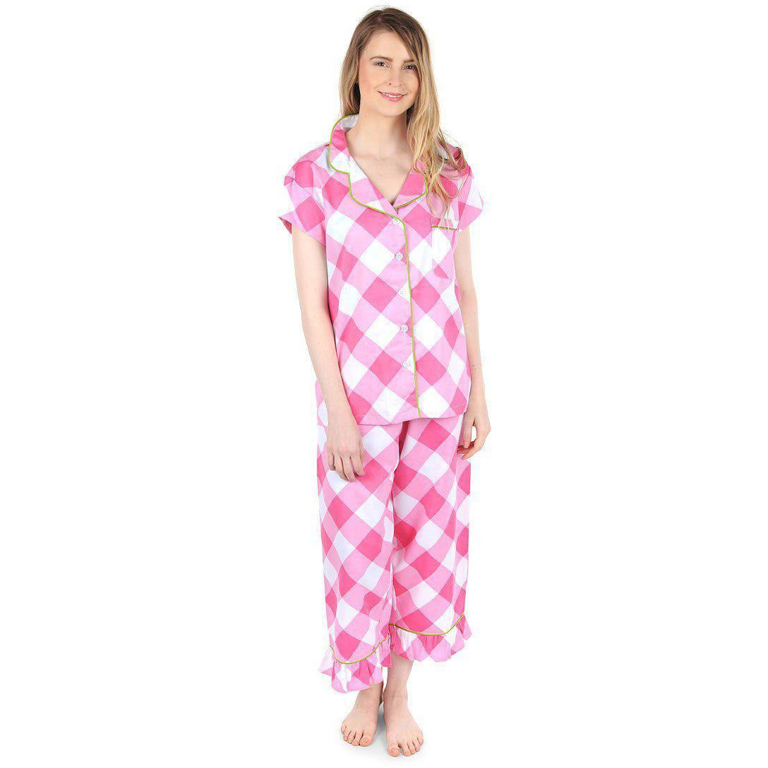 Buffalo Pink Sateen Capri Pajama Set - The Preppy Bunny