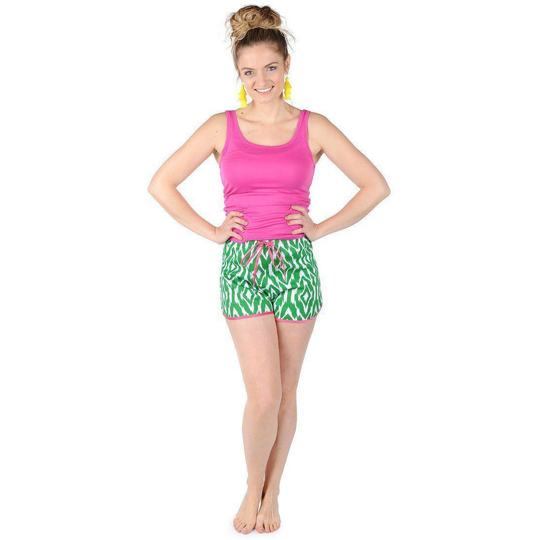 Ikat Green Sateen Women's Boxers Monogrammed - The Preppy Bunny