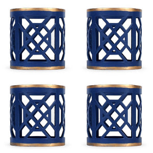 Don't Fret Blue Napkin Ring Set of 4 - The Preppy Bunny