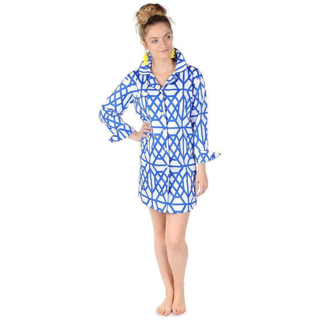 Don't Fret Blue Sateen Sleep Shirt - The Preppy Bunny