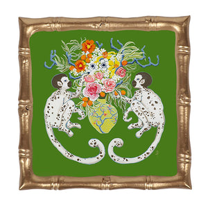 Monkeying Around Enamel Bamboo Tray 12 x 12 - The Preppy Bunny