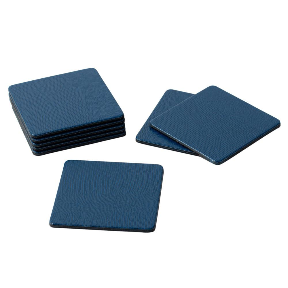 Square Lizard Coasters in Navy - 8 Per Box - The Preppy Bunny