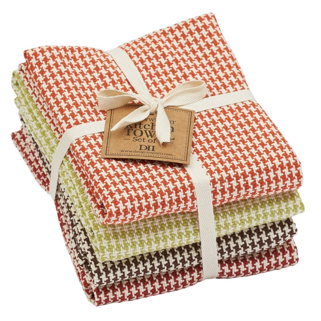 Fall Houndstooth Heavyweight Dishtowel Set of 4 - The Preppy Bunny