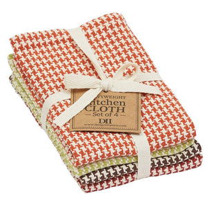 Fall Houndstooth Heavyweight Dishcloth Set of 4 - The Preppy Bunny